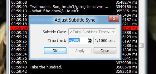 Adjust subtitle sync