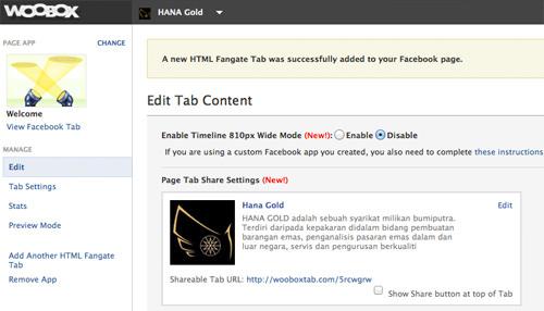 new tab created