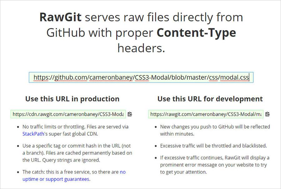 RawGit create GitHub link