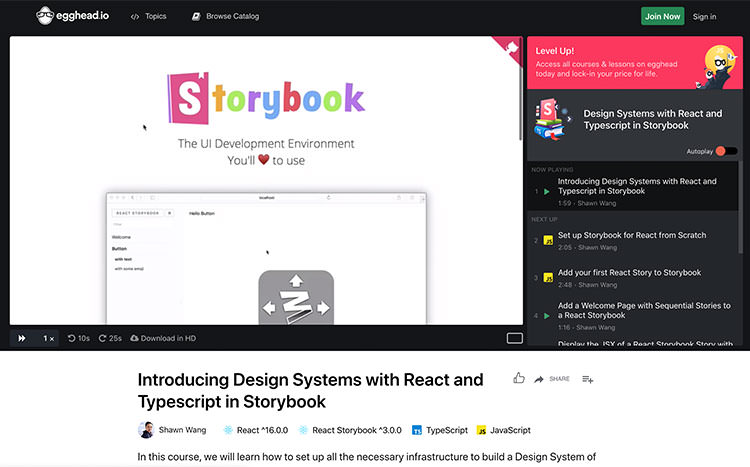 Learn StoryBook video - توسعه دهندگان ریکت