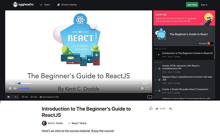 React Beginner's guide video