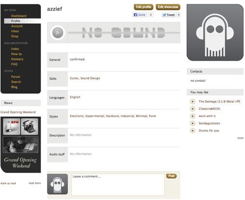 Ohm Studio Profile Page
