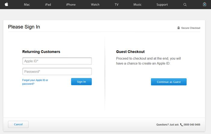 Apple Guest Checkout