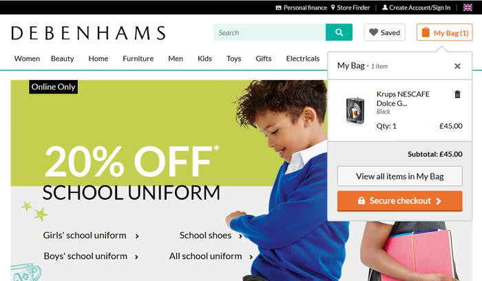 Debenhams Secure Checkout