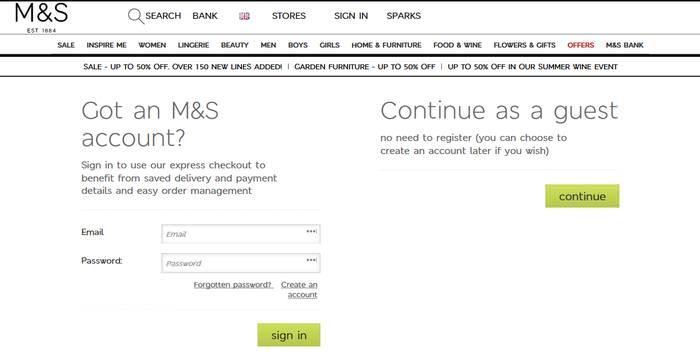 Marks & Spencer Login Screen