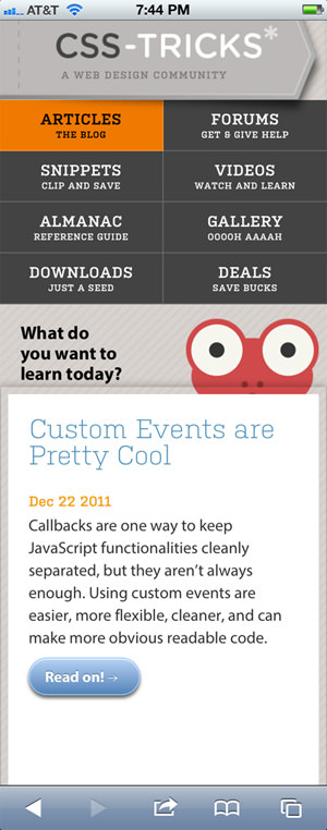 CSS Tricks online blog mobile