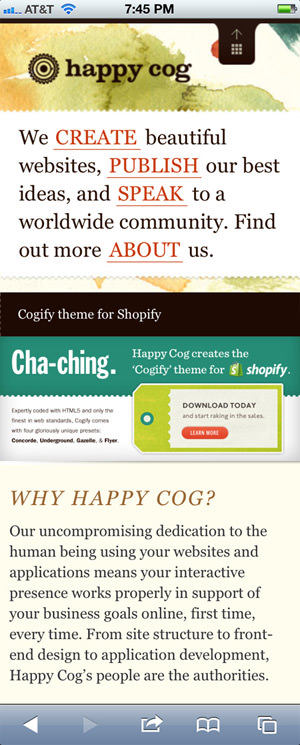 Happy Cog web design