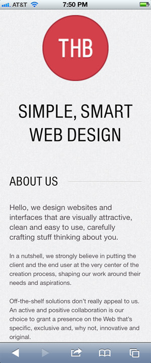 The Happy Bit mobile web design
