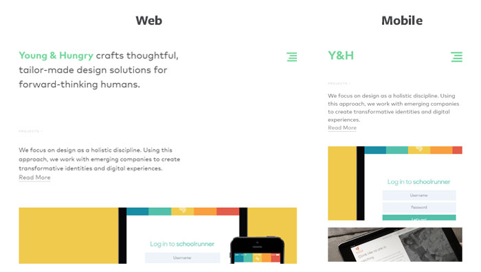 Young and Hungry Responsive Layout
