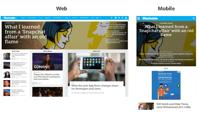 Mashable Home Page