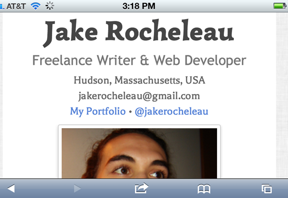 Responsive online resume screenshot from iOS Mobile Safari