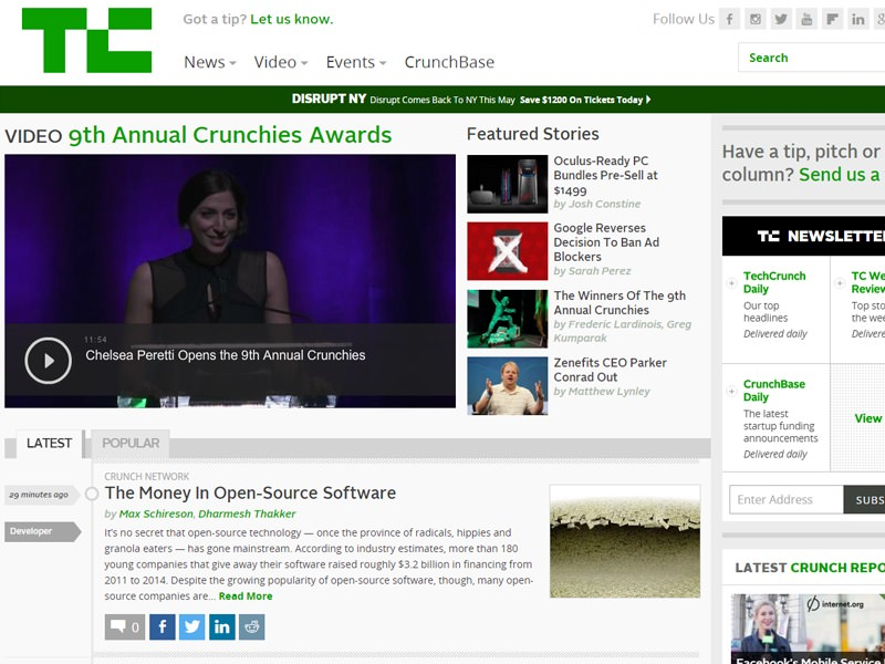 techcrunch homepage