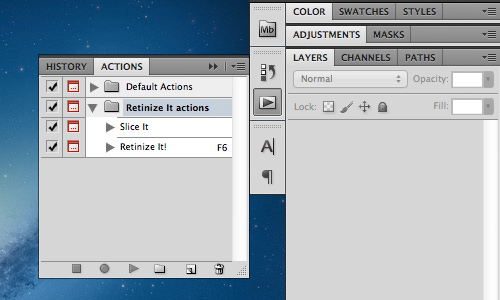 ps action toolbar