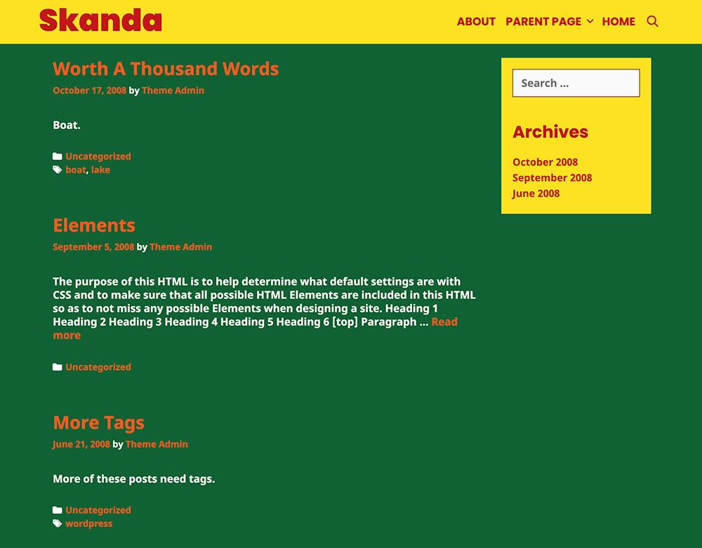 Skanda WordPress Theme