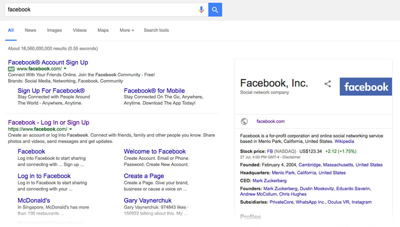 Facebook's Knowledge Graph Card