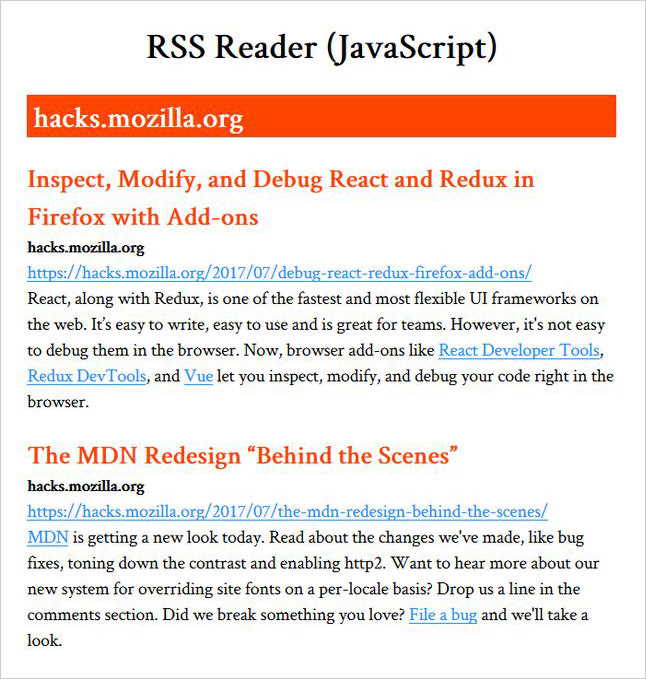 RSS reader app demo