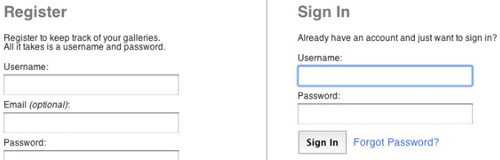 sign in sign up page