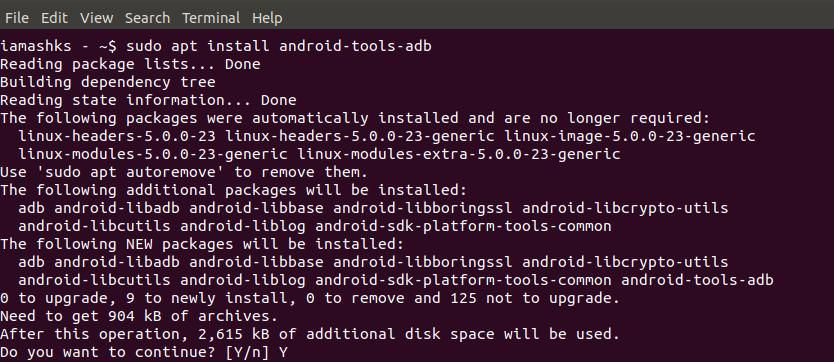 Install Android ADB tools in Linux