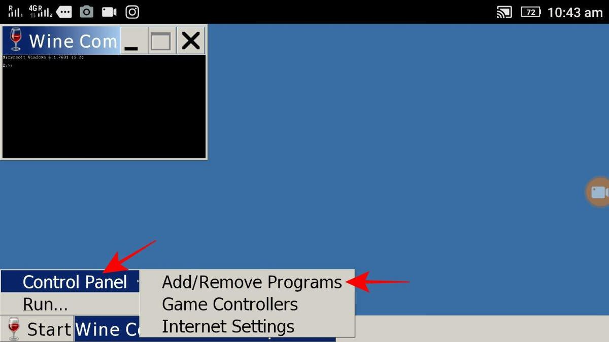 Choose Add/Remove Programs