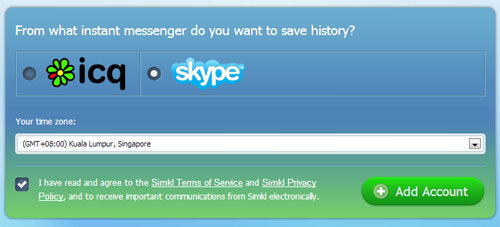 choose skype and set time zone