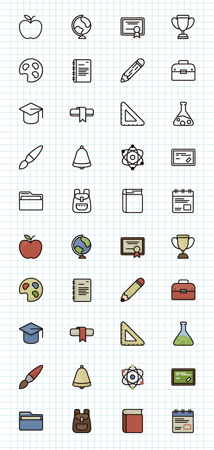 line-color-icons-school