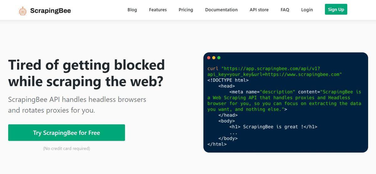 ScrapingBee offers a web scraping API