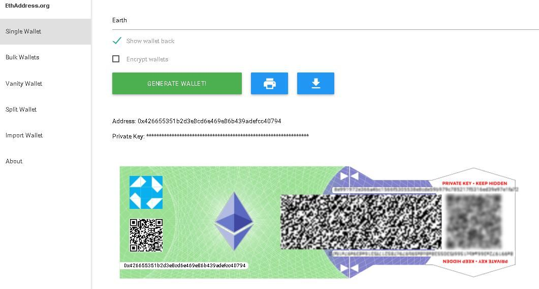 Create a single wallet using ETHAddress