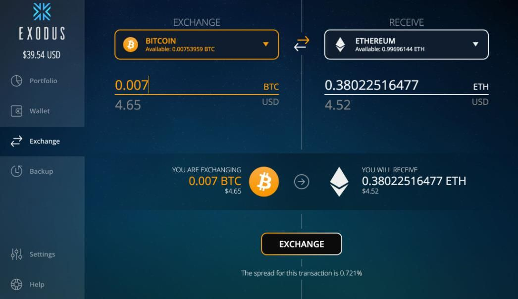 Exodus helps exchanging coins