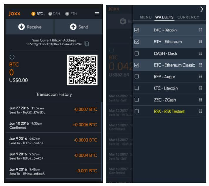 Jaxx's minimalistic interface on mobile