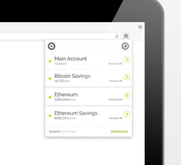 KeepKey's extension for Chrome