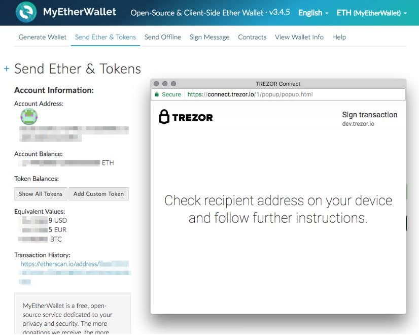 TREZOR lets transact using MyEtherWallet