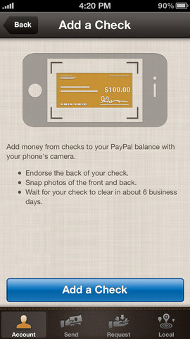 iOS iPhone PayPal Mobile App
