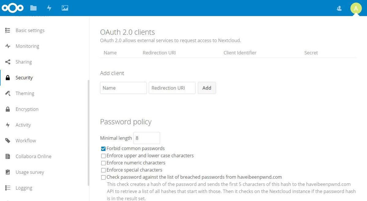 Nextcloud's security features