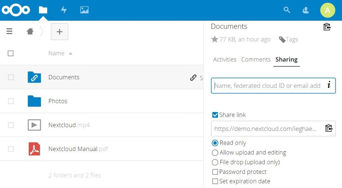 Nextcloud has sharing features