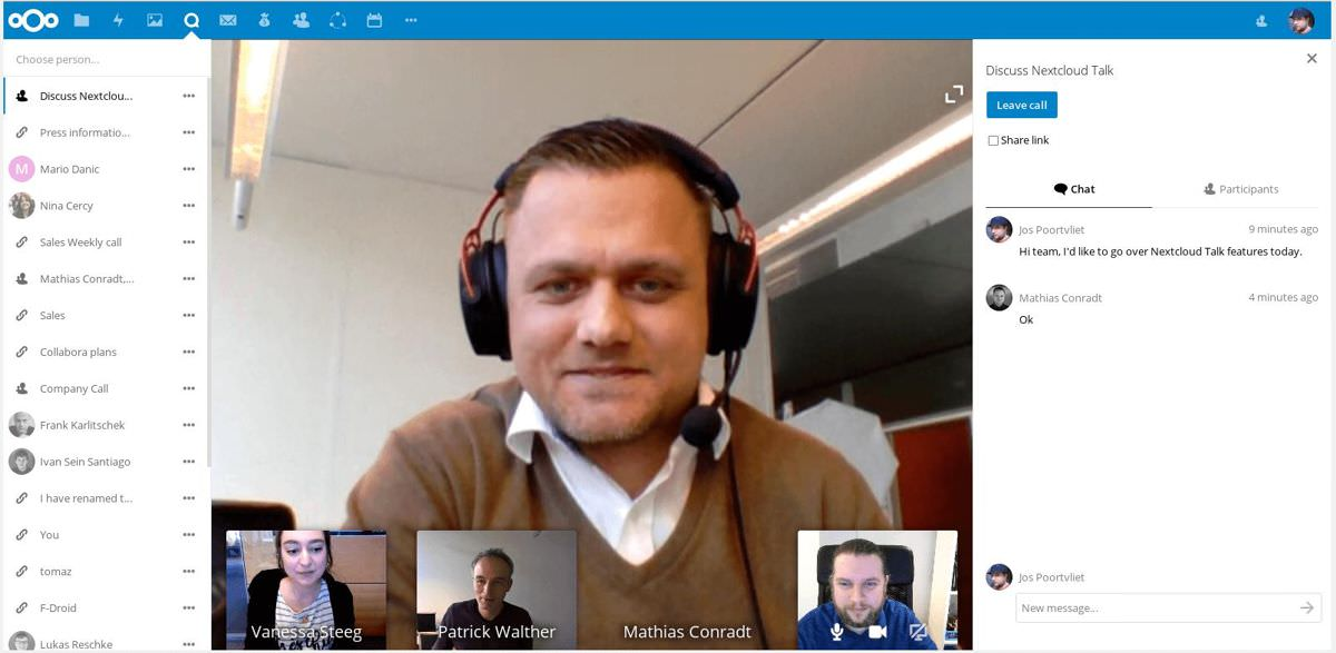 Nextcloud Talk adds call feature
