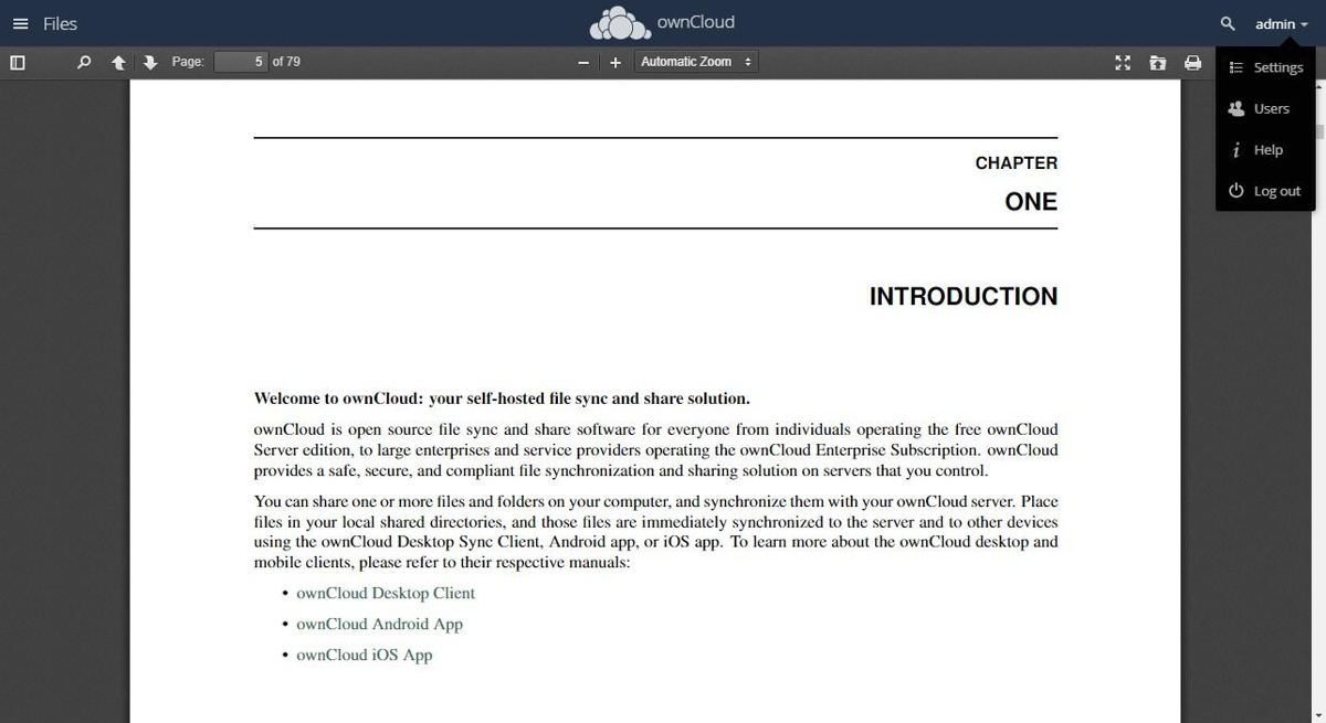 ownCloud's PDF Viewer app