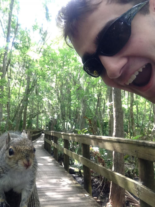 squirrel attack selfie