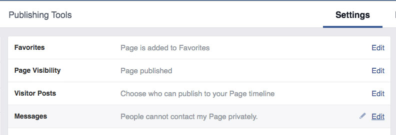 Page Message Settings