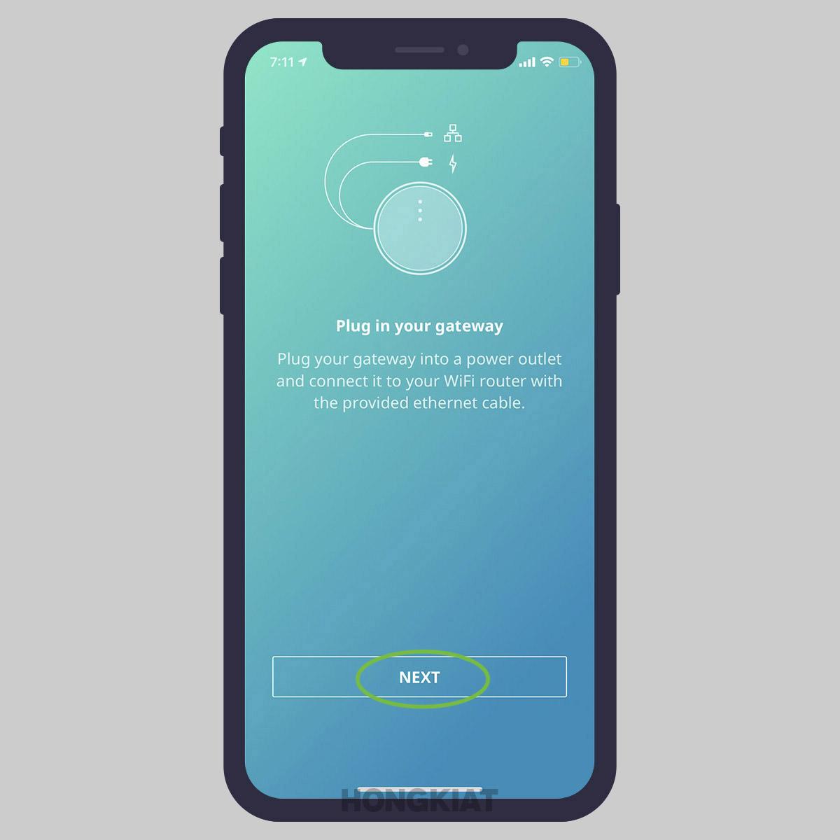 launch app tap next