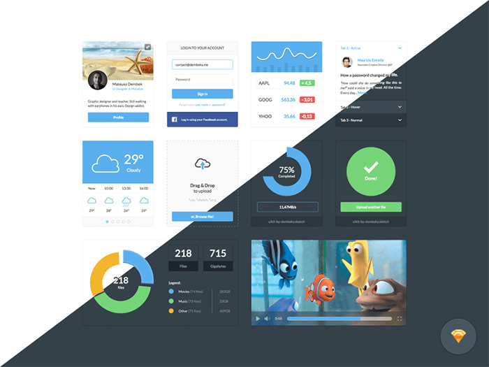 dark and light ui kits