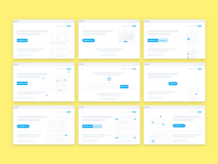 wireframe landing page sketch