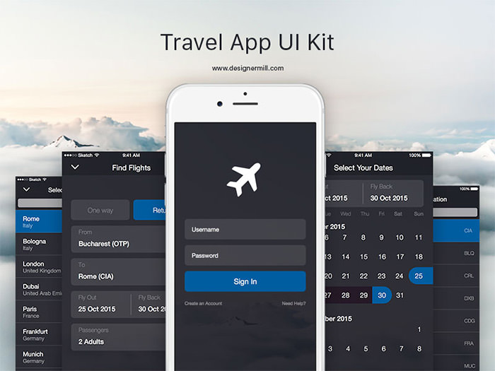 travel app ui sketch freebie