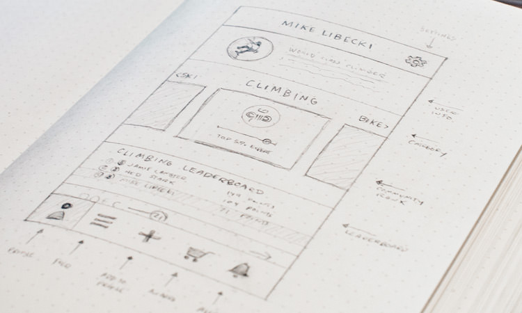 Mobile App UI Wireframe Sketch