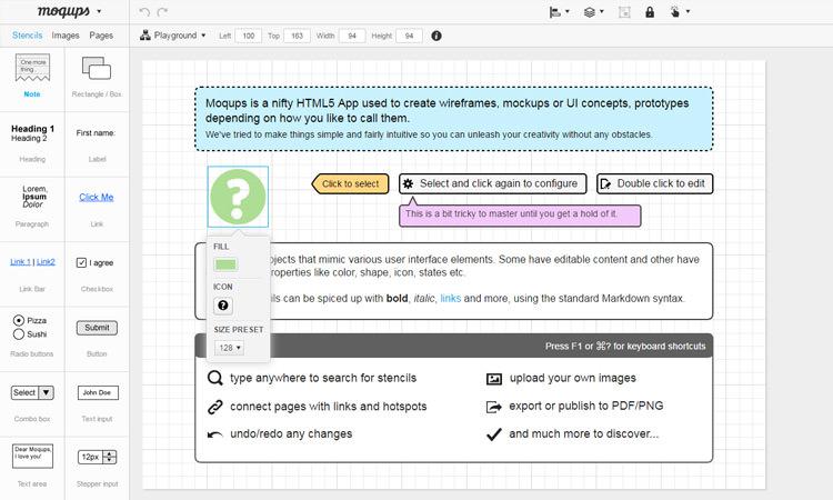 Moqups Web App Screen