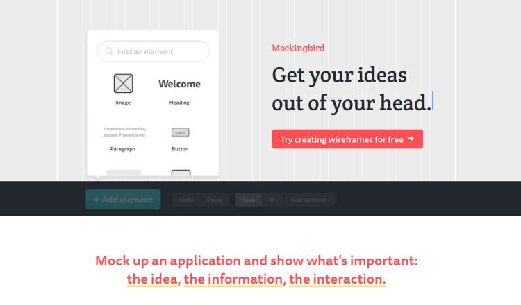 Mockingbird Wireframing Tool