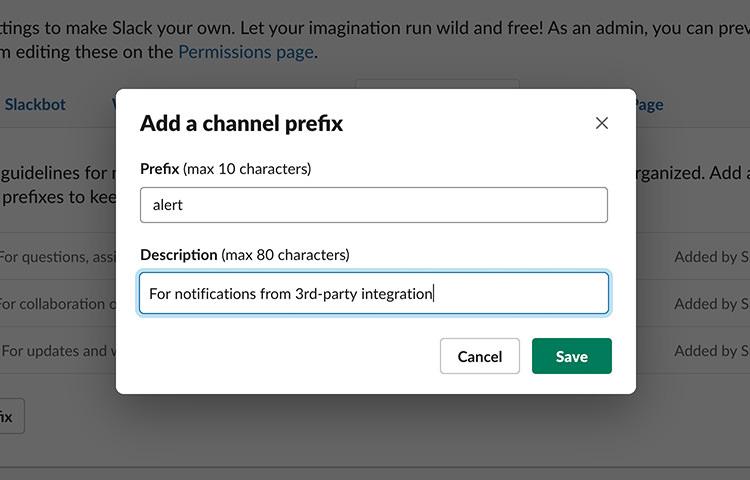 Slack default channel prefixes