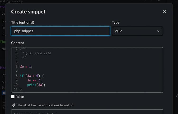 Slack code snippet popup