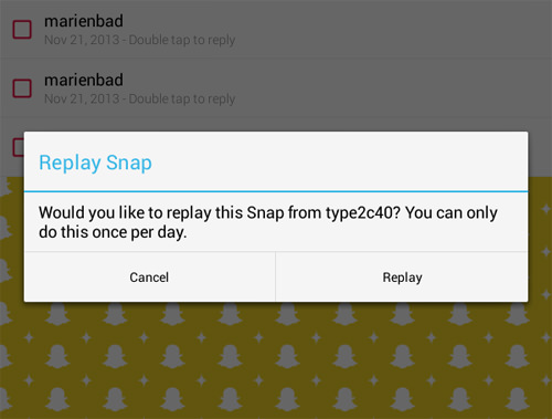 View The Same Snap Again With Replay
