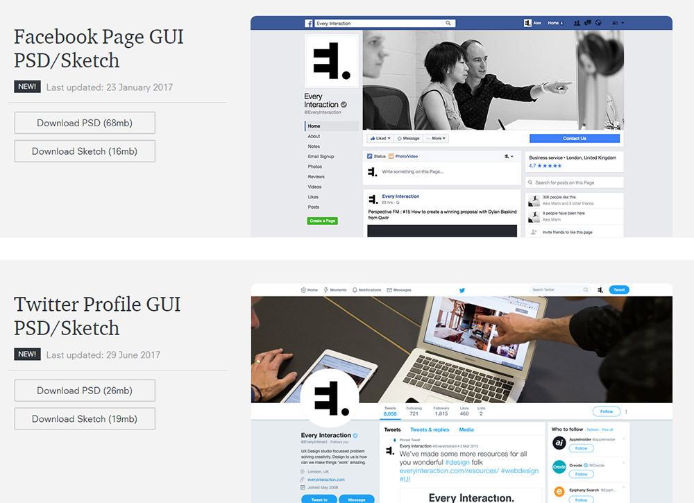 Social profile PSD freebies