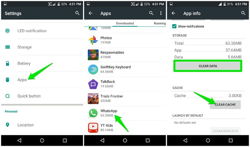 delete app cache